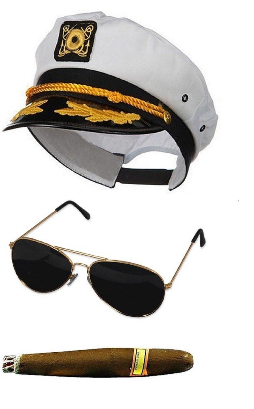 White Sailor Ship Yacht Captain Hat Cigar Aviator Sunglasses Costume Set Kit