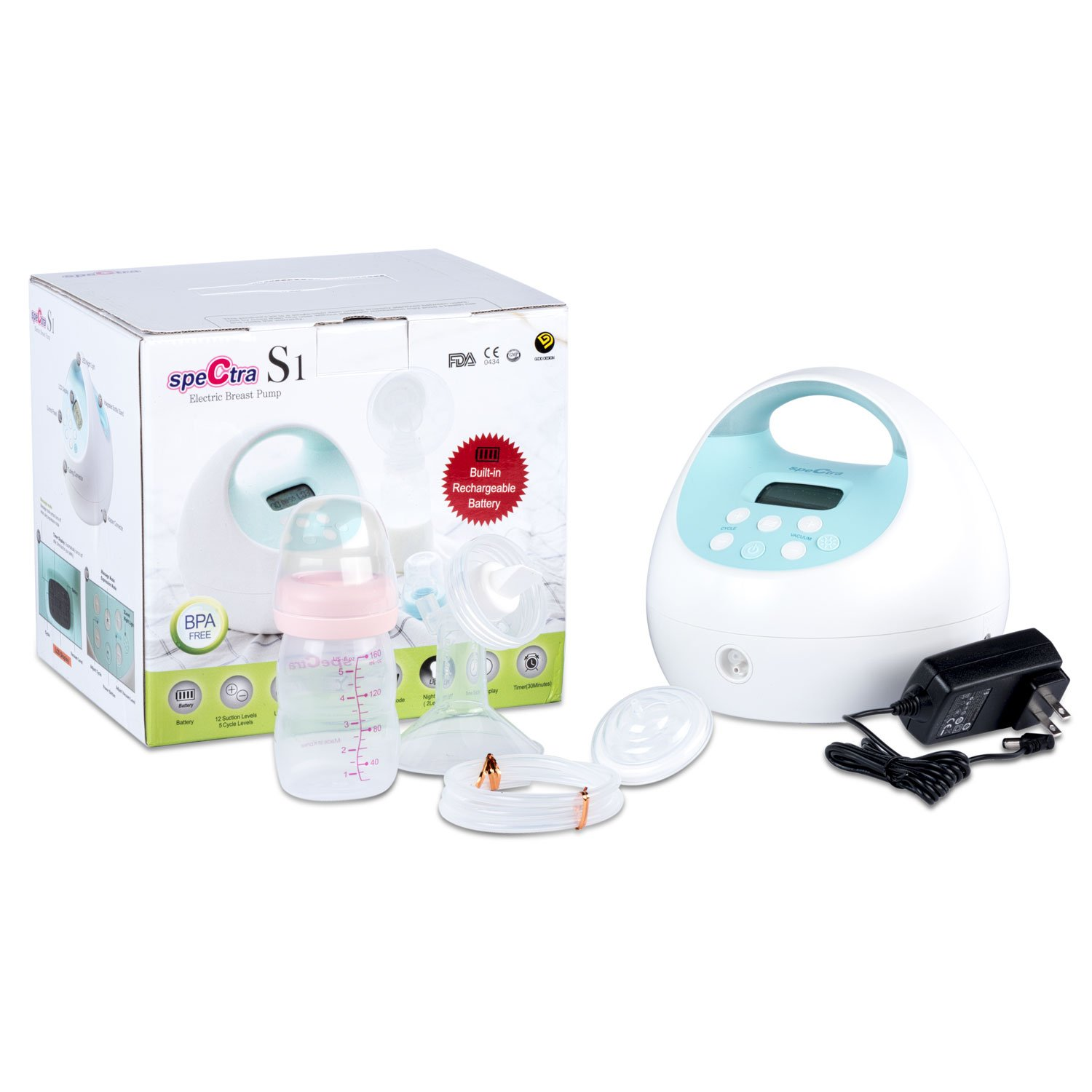 Spectra Baby USA - S1 Hospital Grade Double/Single Electric Breast Pump Set - With Black Tote and 1 Set of Bottles