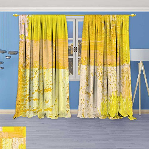 (SOCOMIMI 397 Panel Set Digital Printed Window Curtains, Wallpaper Texture Background n Original Oil Yellow and Beige for Bedroom Living Room Dining Room, 96W x 96L inch)
