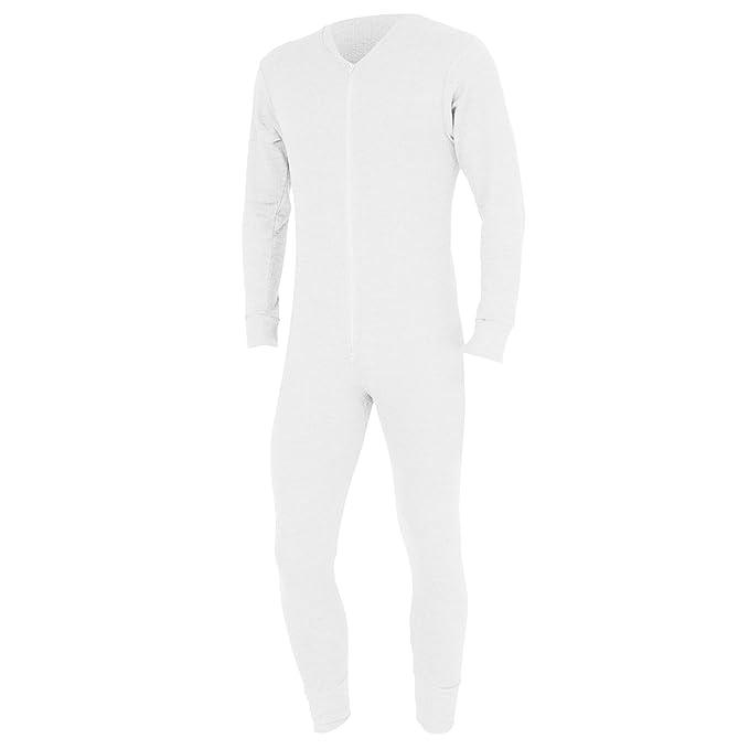 FLOSO - Mono interior térmico para hombre (S- Pecho 81-86cm/Blanco