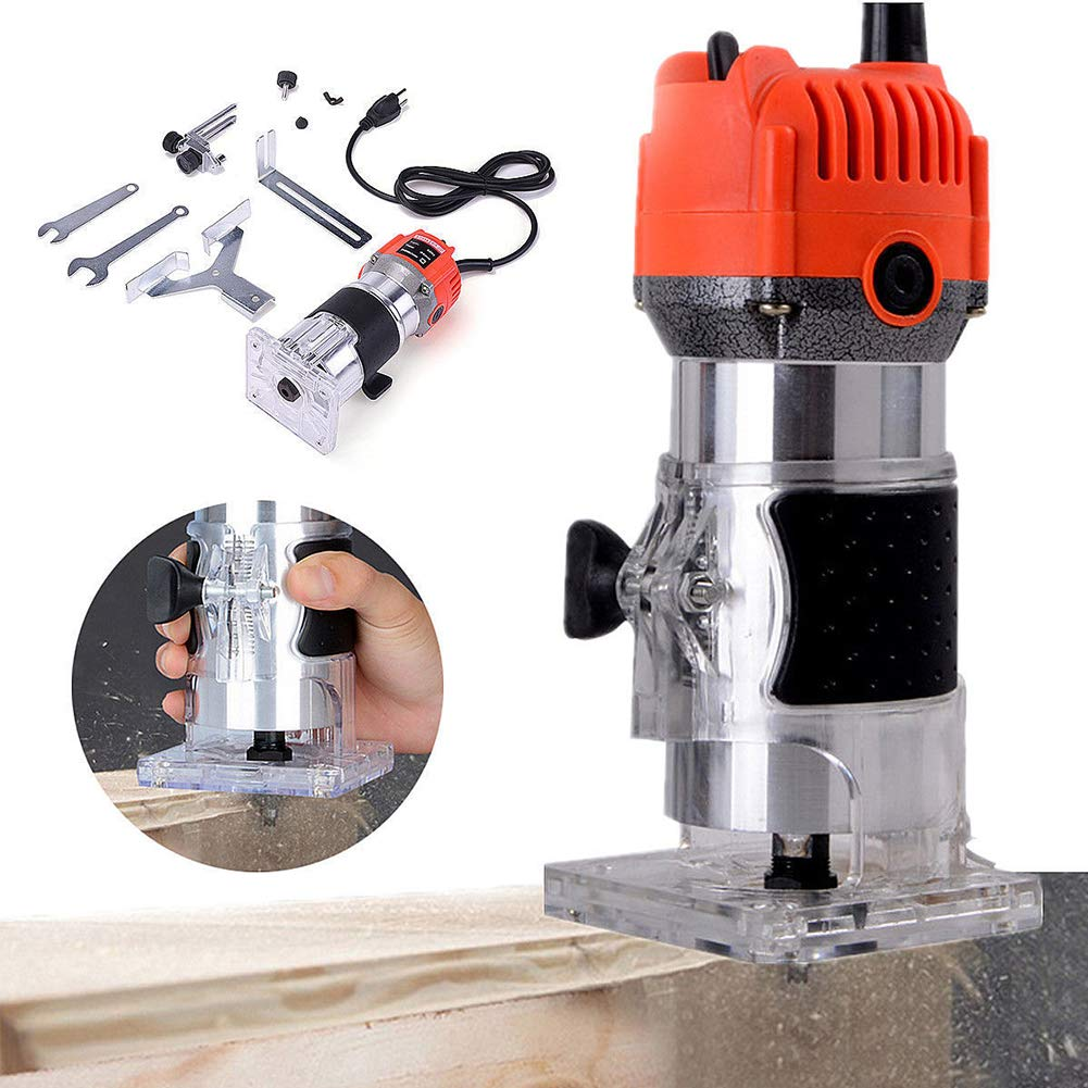 Electric Wood Trimmer, TBVECHI 1/4'' 6.35mm Electric Hand Wood Trimmer Laminate Palm Router Joiner Tool Curve Cutting Grooving