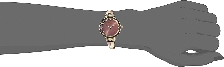 Anne Klein Women's AK/3196 Swarovski Crystal Accented Bangle Watch Gold/Brown