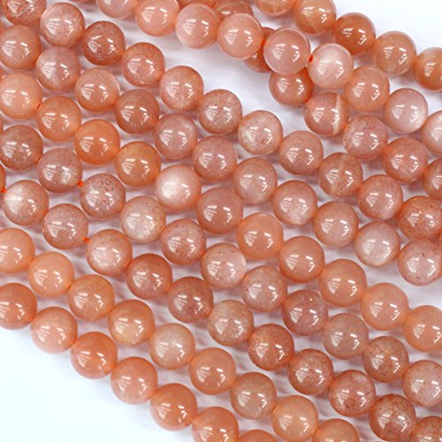 - Natural Genuine Peach Moonstone Round Real Gemstone Loose Beads Findings for Jewelry Making (8mm)