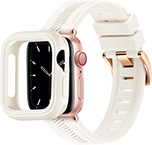 BesBand Compatible with Apple Watch Bands 44mm 42mm 40mm 38mm, Soft Silicone Waterproof Sport Band Loop with Protective Case for iWatch Series 6/5/4/3/2/1&SE (White/Rose Gold, 38mm/40mm)