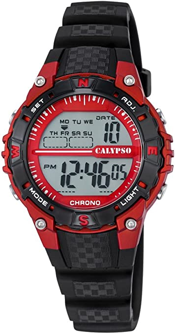 Calypso–Reloj Digital Unisex con LCD Pantalla Digital Dial y Correa de plástico en Color Negro K5684/6