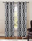 Pair of Atlantis Charcoal/Ivory Window Curtain Panels w/Grommets Review