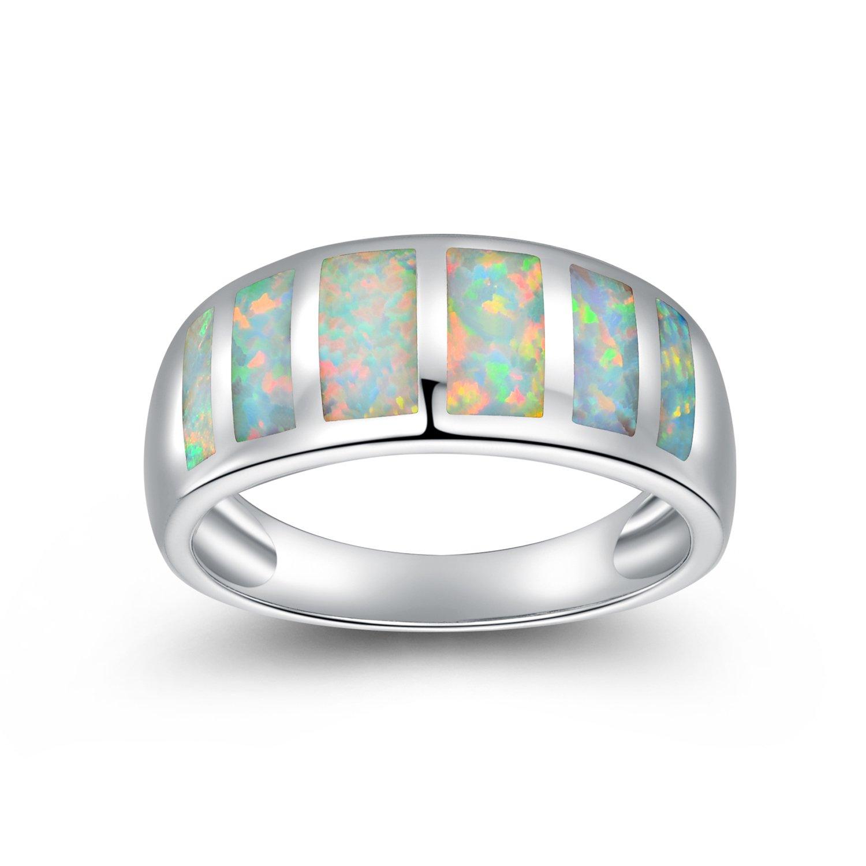 OPALTOP White Opal Birthstone Gemstone Eternity Promise Wedding Ring Platinum Plated for Womens Girl (5)