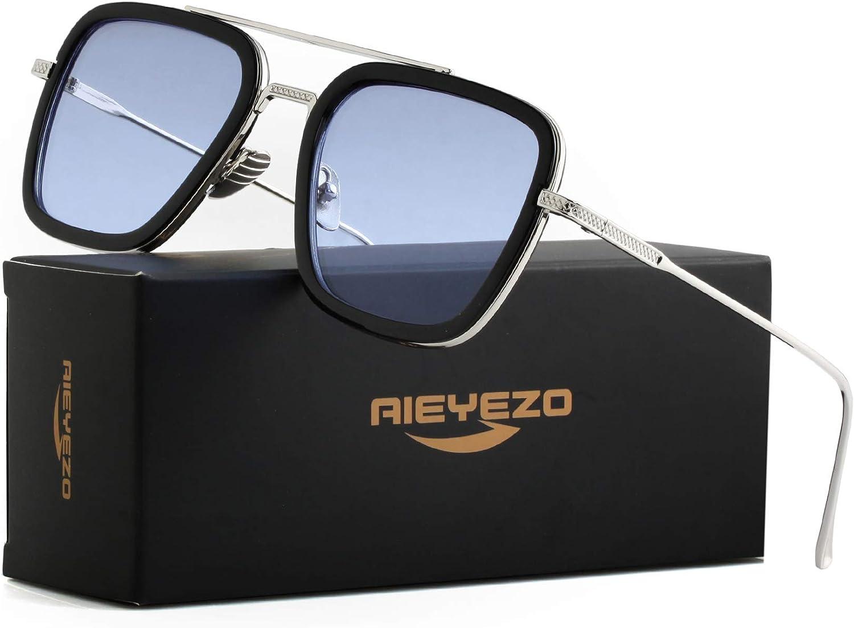 Tony Stark Sunglasses Vintage Square Metal Frame Eyeglasses for Men Women - Iron Man and Spider-Man Sun Glasses (Spider Man Same Color): Clothing