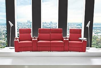 4er Cinema Sessel Kunstleder In Rot Verstellbar Durch