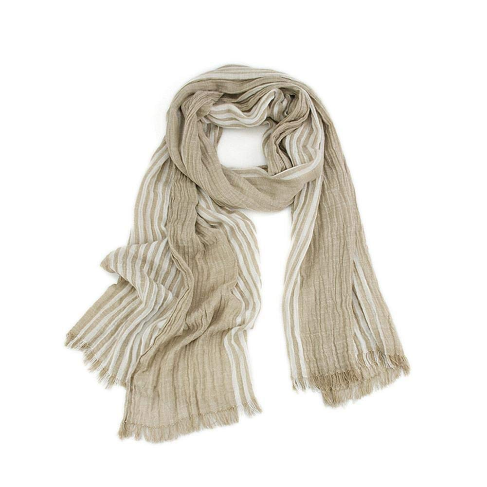 Winter Scarf  For Men Warm Soft Tassel Plaid Woven Wrinkled Cotton Linen Striped