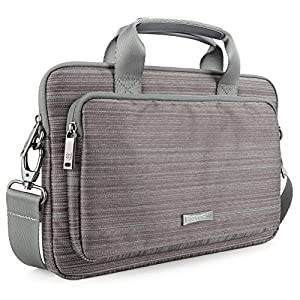12.9 - 13.3 Inch Laptop/Tablet Messenger Bag Evecase Classic Padded Briefcase Carrying Case with Handle and Strap for Notebook Chromebook, Ultrabook, Macbook Air, 13.3 / iPad Pro 12.9 Tablet - Gray