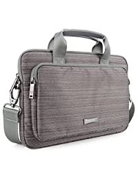Laptop Messenger Bag, Evecase 13'' 13.3-Inch Notebook Chromebook Laptop Ultrabook Suit Fabric Multi-functional Briefcase Messenger Bag Computer Travel Carrying Case with Handles and Adjustable Shoulder Strap - Gray