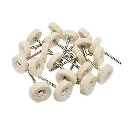 NIUPIKA Wool Polishing Buff Wheel Dremel Buffing Wheels Rotary Tool  Accessories Polish Jewelry Watch Mirror 3mm Mandrel 20 Pieces