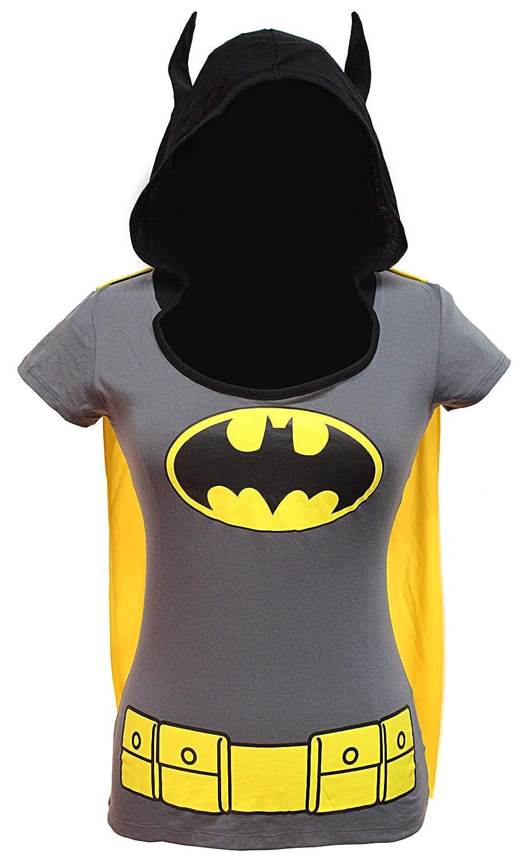 DC Comics Batman Shirt Juniors Hooded Caped Costume T-Shirt Bioworld