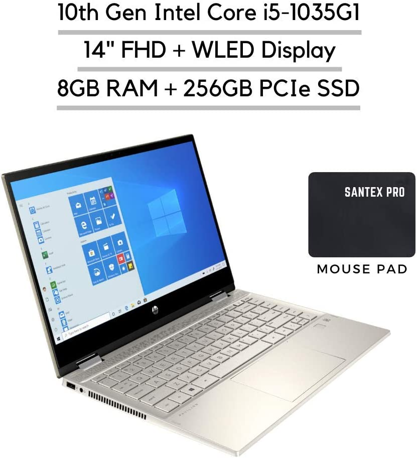 "2020_HP Pavilion x360 14"" FHD Touchscreen 2-in-1 Laptop, Intel Core i5-1035G1 (Up to 3.60GHz), 8GB RAM, 256GB SSD, Webcam, 802.11ac, HDMI, Bluetooth, Fingerprint Reader, Win10, w/Santax Accessories"