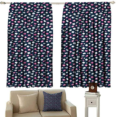 Sliding Curtains Diamonds Round Marquise Square and Heart Shaped Crystals with Ruby Arrangement Light Blocking Drapes with Liner W63 xL63 Dark Blue Pink Pearl