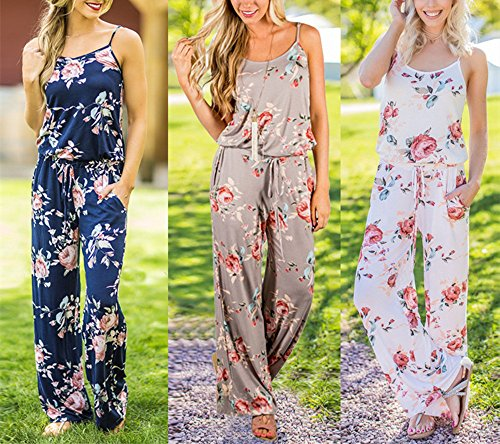 Image result for Assivia Women Summer Floral Printed Strap Sleeveless Casual Wide Long Pants Jumpsuits Rompers