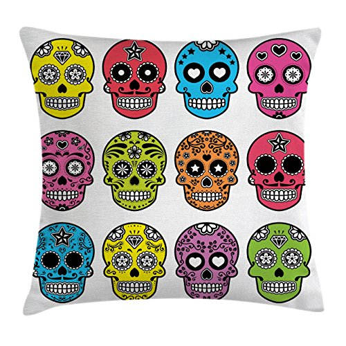 Skull Throw Pillow Cushion Cover by Ambesonne, Ornate Colorful Traditional Mexian Halloween Skull Icons Dead Humor Folk Art Print, Decorative Square Accent Pillow Case, 18 X18 Inches, (Mexian Party)