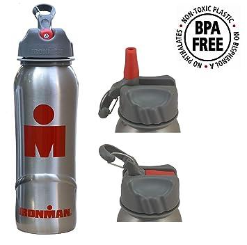 IronMan - Botella de Agua de Acero Inoxidable Puro (700 ML) sin BPA – con Tapa y Pajita – Triatlón para Correr, Ciclismo, Fitness, Senderismo