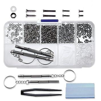 37f5aa7437b6ee Kit de réparation de lunettes 510pcs, 45 sortes de petites vis et ensemble  de plaquettes