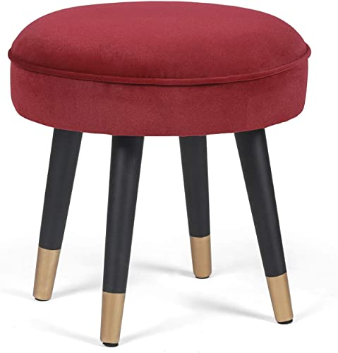 Homebeez Round Ottoman Stool Velvet Foot Rest Coffee Table for Living Bed Room Red