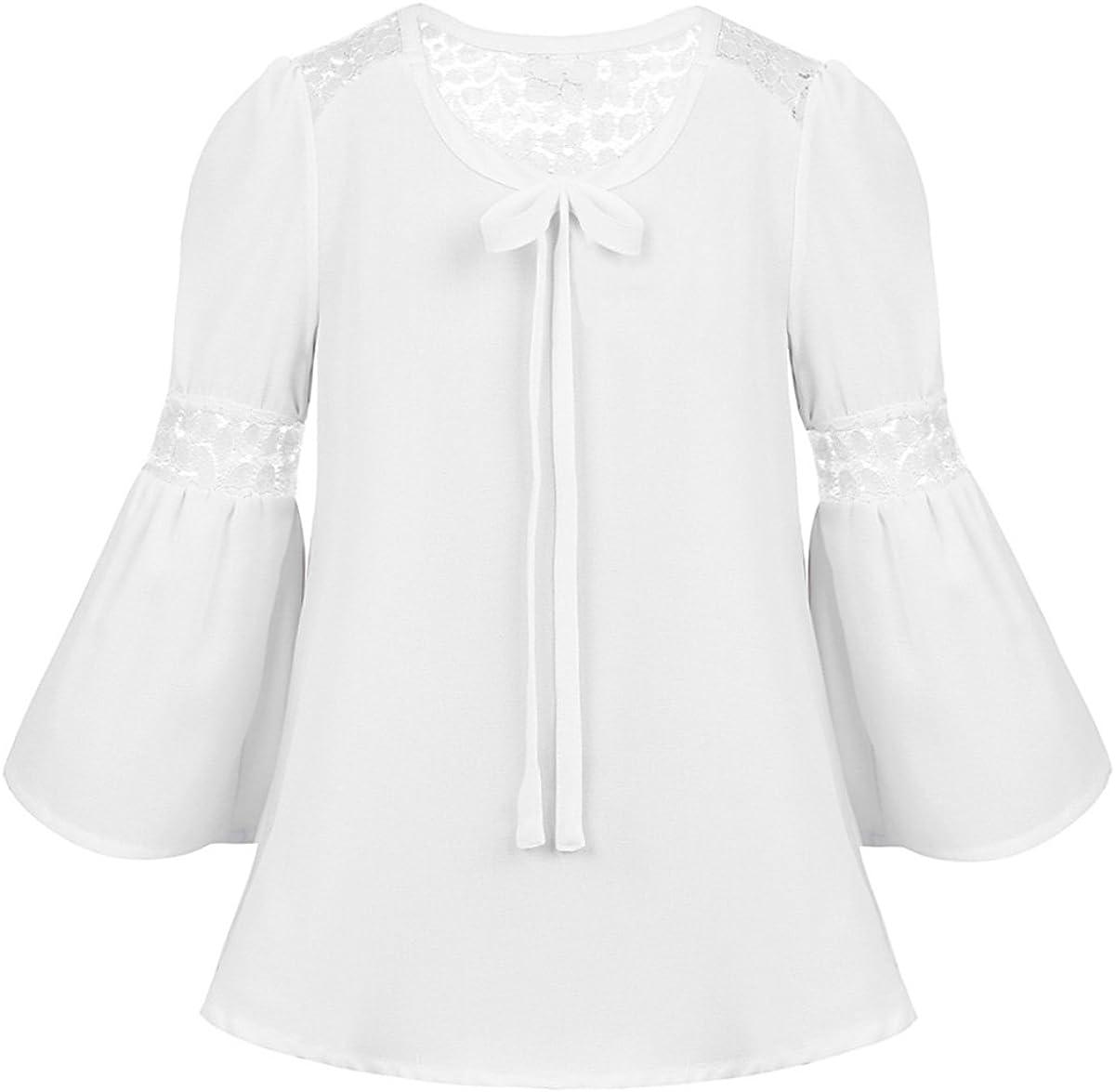 TiaoBug Blusa de Gasa Manga Larga para Niñas Chicas Camisa Encaje Blanca con Mangas de Bell Blusa Otoño Chicas: Amazon.es: Ropa y accesorios