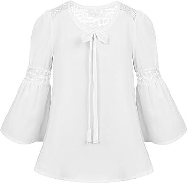 Agoky Blusa Blanca para Niñas Camiseta Manga de Volante con Encaje Floral Tops Camisa de Princesa Fiesta para Chicas Primavera Otoño Casual(4-16 Años): Amazon.es: Ropa y accesorios