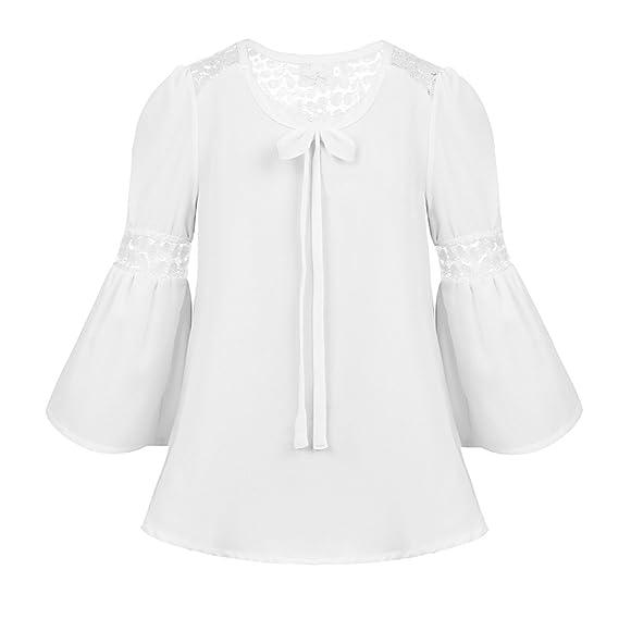 bf9781721 Freebily Blusa Camiseta para Niñas Camisa de Encaje Gasa para la Primavera,  Otoño, Verano (4-16 Años)