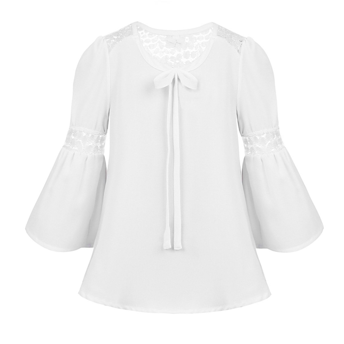Agoky Kids Girls 3/4 Bell Sleeves Lace Splice Top Blouse Daily Wear Spring Summer Autumn White 4-5