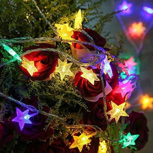 16ft LED String Lights 220V 40LEDs Battery Operated Christmas Decoration (Novelty 2 Light Stars)