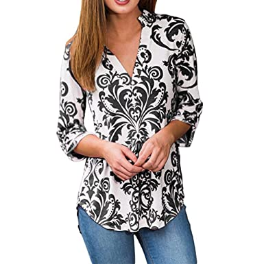 6b882feabb4b23 Qixuan Womens Floral Print Stand Coller V Neck 3/4 Sleeve Blouses Tops  Black S
