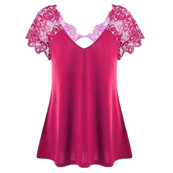 Lenfesh Blusas Tops Cuello en V Tallas Grandes Mujeres Camiseta con Encaje Floral XL-5XL: Amazon.es: Ropa y accesorios