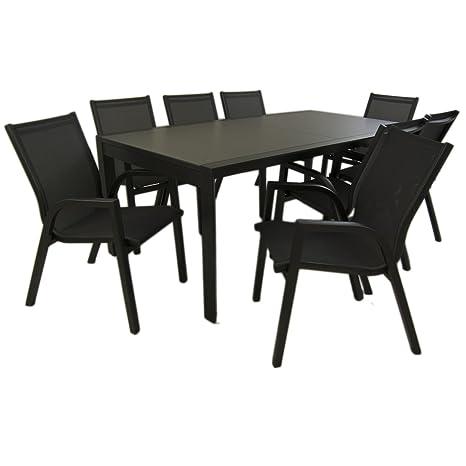 Edenjardi Conjunto de jardín Color Antracita, Mesa Extensible 200/300 y 8 sillones apilables, Aluminio Doble Reforzado, 6 plazas