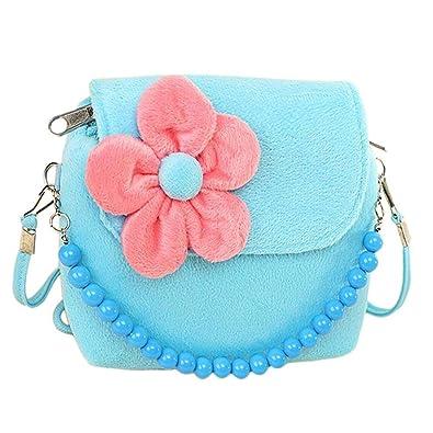 cfd792ac0720 Girls Princess Flowers Purses Shoulder Messenger Bags Kids Handbag Flower  Beads Chain Handbag (Blue)