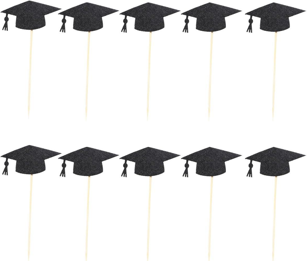 LUOEM 48cs Graduation G/âteau Toppers Noir Doctorial Chapeau Design G/âteau En Bois Toppers D/écorations pour la Remise des Dipl/ômes Saison Party