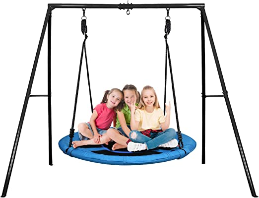 Deluxe Platform Swing 600 lbs Capacity Elevens 1M//40 Tree Swing with Swing Set Anchors and Tree Strap Blue New
