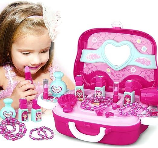 EqWong – Juego de Maquillaje, plástico, Juguete de Belleza para niños, Set de Maquillaje de Princesa, maletín para niñas, Juguete de rol, Juego de Maquillaje para niña: Amazon.es: Juguetes y juegos