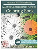 CALENDULA OFFICINALIS FLOWER Coloring book for Adults Relaxation  Meditation Bl: Sketches Coloring Book 40 Grayscale Images