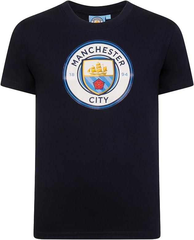 Manchester City FC - Camiseta Oficial para niño - con el Escudo ...