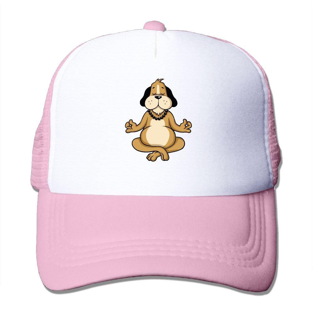 JimHappy Dog Meditation Cartoon Mesh CapAdjustable Back Mesh Cap for Men and Women