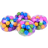 4pcsSquishy Rainbow Stress Ball Fidget Toy with DNA Colorful Beads Inside Relieve Stress Anxiety Hand Exercise Tool for…