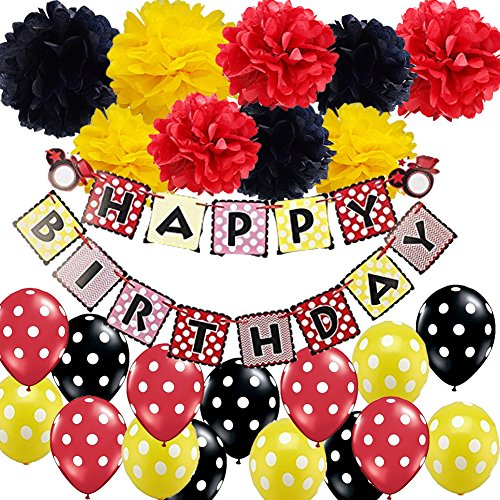 Mickey Mouse Birthday Decorations-Happy Birthday Banner Red Yellow Black Tissue Paper Pom Pom Flowers Polka Dot Balloons for Minnie Mouse Party Supplies Ladybug Birthday Party Decorations