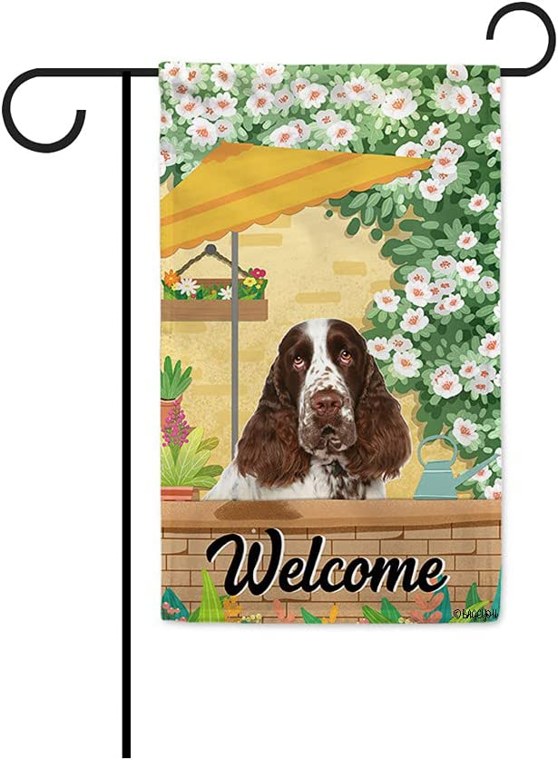 BAGEYOU Welcome Summer Dog Garden Flag English Springer Spaniel Playing in The Yard Gardening Floral Plants Sunshade Spring Decor Home Banner for Outside 12.5x18 Inch Print Both Sides
