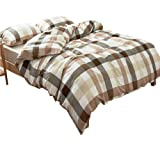 AMWAN Brown Coffee Plaid Duvet Cover Set Twin Lightweight Washed Cotton Comforter Cover Set Hotel Quality Grid Bedding Collection Modern Soft Checkered Duvet Cover Set with 2 Pillowcases Twin