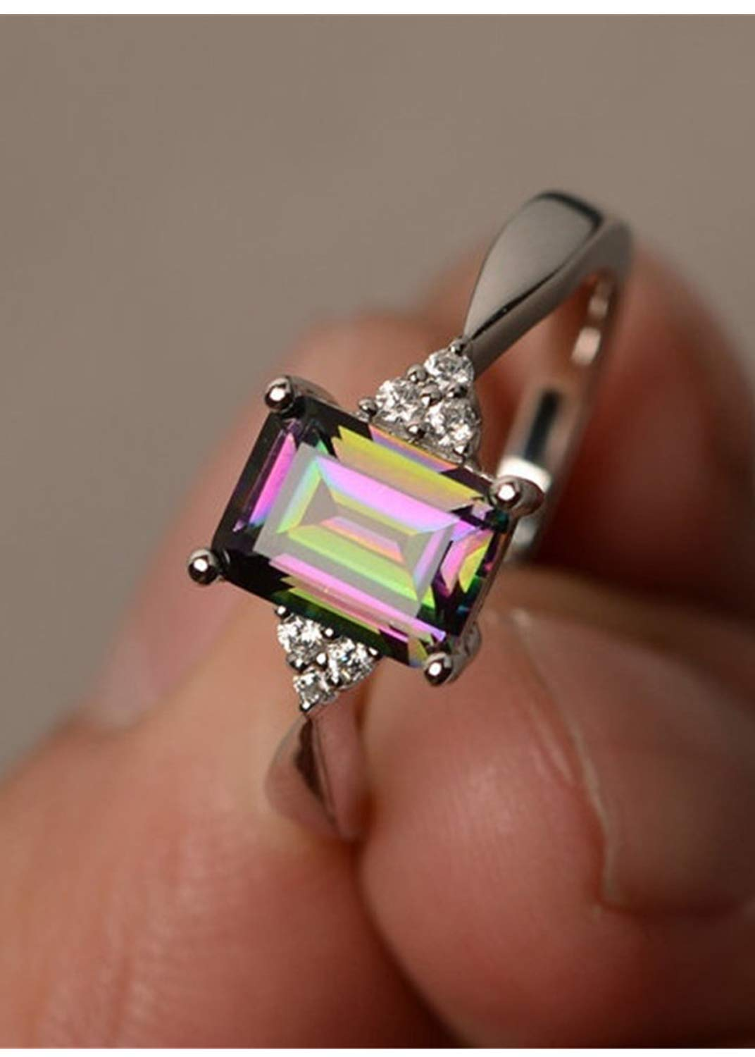 HUAMING Hot! Colorful Stone Square Diamond Ring,Princess Mystic Rainbow Ring Women for Inlaid Engagement Rings Jewelry (Silver, 8)