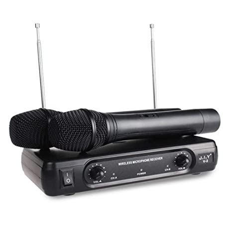 scastoe VHF micrófono inalámbrico, Bluetooth profesional micrófono de mano inalámbrico de doble canal, doble