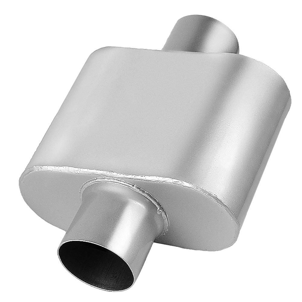 "3 Inch Inlet Muffler, AUTOSAVER88 Universal Red Extreme Muffler, 3' Inside Diameter Inlet, Dual 2.5"" Inside Diameter Outlet. 3 Inside Diameter Inlet"