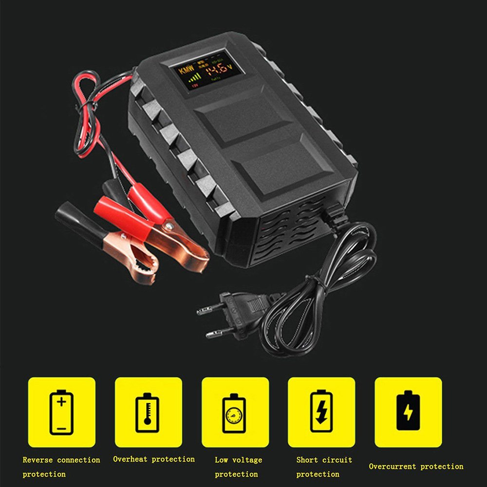 Auntwhale Battery Charger Car Battery Charger Portable LCD Display Black Automobile Charging Kit LCD