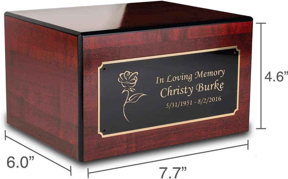 GetUrns Custom Engraved Society Cherry Adult Cremation Urn Memorial Box for Ashes Anchor