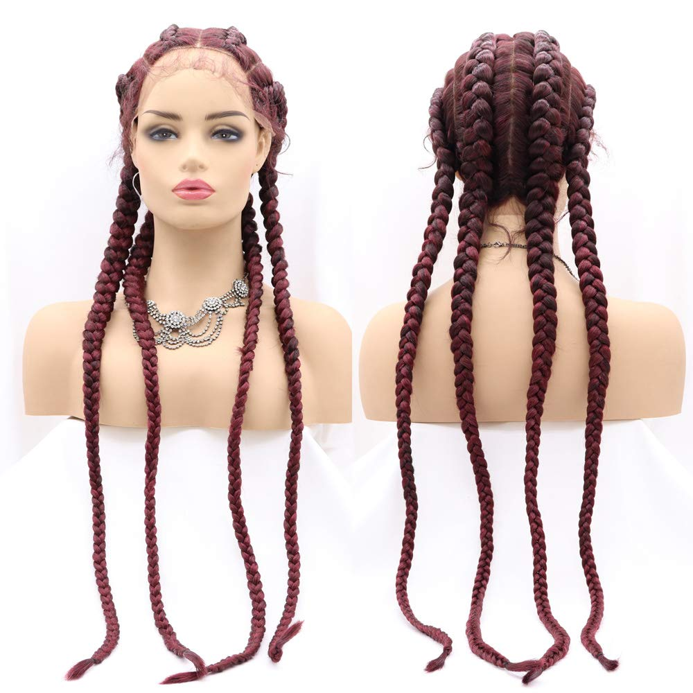 Xiweiya Wigs Long Braided Wig Wine Red Color Hair Highlight Big Braiding Synthetic Lace Front Wig with Four Braids for Women,Drag Queen Makeup Party 28 Inches